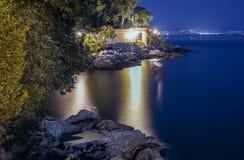 Een stille nacht in Opatija, Kroatië Stock Fotografie