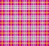 Een stof met een gecontroleerd patroon in roze tonen Stock Foto's