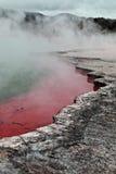 Een stomende roze en groene geothermische hete pool Stock Foto