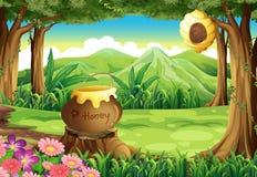 Een stomp bij de wildernis met een grote pot van honing royalty-vrije illustratie