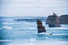 Een stormachtige dag door 12 Apostelen Victoria, Australië Stock Foto's