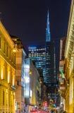 Een straat in de stadscentrum van Milaan stock foto's