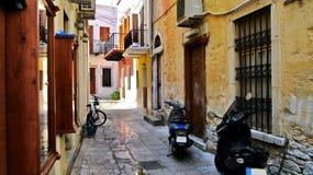 Een straat in oude Symi Stock Foto