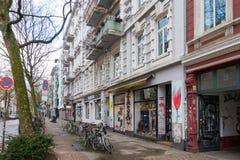 Een straat in Schanzenviertel, Hamburg stock foto's