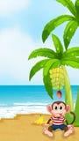 Een strand met een aap onder de banaan stock illustratie