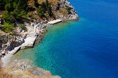 Een strand van Hydra-eiland in Griekenland stock fotografie