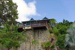 Een strandvilla in de Caraïben Stock Afbeelding