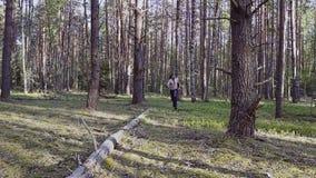 Een strijder met een naakt torso en een mes in zijn handen neemt zeer snel het bos door de camera in langzame mo schiet cinematic stock video