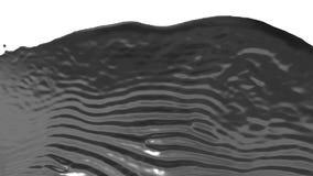 Een stroom van zeer mooi vloeibaar metaal zoals zilver valt op het scherm Neer geschoten van vloeibare stroom in langzame motie,  vector illustratie