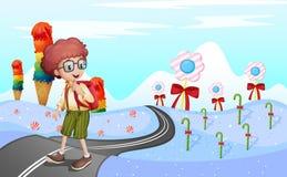 Een student die in de weg lopen royalty-vrije illustratie