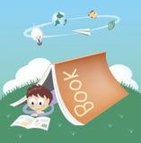 Een student die een boek in de boektent lezen stock illustratie