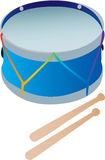 Een stuk speelgoed trommel met trommelstokken Vector Illustratie