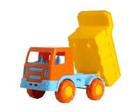 Een stuk speelgoed vrachtwagen met opgeheven stortplaatslichaam Royalty-vrije Stock Afbeeldingen