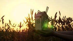 Een stuk speelgoed windmolen in de hand van een jong meisje tegen een achtergrond van gouden oren van tarwe en zonsondergang stock video