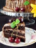 Een stuk van chocoladecake royalty-vrije stock foto's