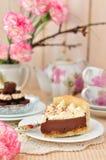 Een scherp Stuk van Chocolade Stock Foto's