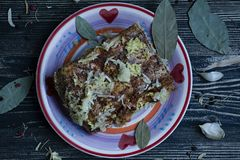 Een stuk van gezouten bacon met kruiden Traditionele Oekra?ense snack De stijl van het land royalty-vrije stock afbeeldingen