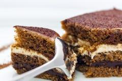 Een stuk van heerlijke chocoladecake, die door een glanzende lepel wordt verdeeld stock fotografie