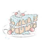 Een stuk van mooie cake met room en kers royalty-vrije illustratie