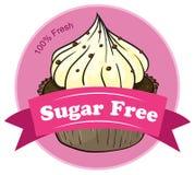 Een suiker vrij etiket met een cupcake royalty-vrije illustratie