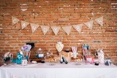 Een suikergoedbar bij een huwelijk Royalty-vrije Stock Fotografie
