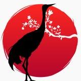 Een tak met sakura bloeit en een Japanse kraan op de achtergrond van de rode zon Multi-blootstelling Sakura en Rood - bekroonde k stock illustratie