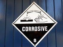 Een te nemen zorg van de tekenwaarschuwing omdat het gebied corrosieve aanwezige chemische producten heeft Stock Afbeeldingen