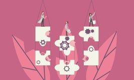 Een team die van mensen die, raadselstukken steunen als oplossing aan een probleem samenwerken royalty-vrije illustratie