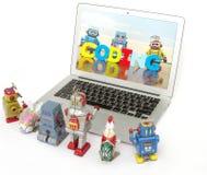 Een team van robotspeelgoed leert codage stock afbeeldingen