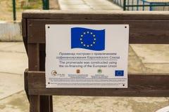 Een teken op de Oostzeepromenade, bu van de inschrijvingspromenade Stock Foto's