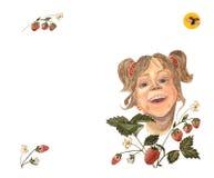 Een tekening van de waterverfhand van een lachend meisje met een rode strawberrry, oranje zon en een vliegend lieveheersbeestje royalty-vrije illustratie