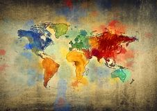 Een tekening van een kleurrijke kaart stock afbeeldingen