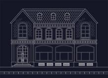 Een tekening van een oud herenhuis met winkelvensters op de benedenverdieping stock illustratie