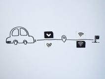 Een tekeningsauto en een klein die document als SIM-kaart wordt gesimuleerd Dollar Stock Foto