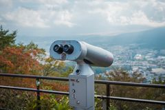 Een telescoop op Ropeway van Kachi Kachi meningspunt, Japan stock afbeeldingen
