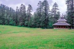 Een Tempel in Groene weiden in Himalayagebergte, het Grote Nationale Park van Himalayan, Sainj-Vallei, Himachal Pradesh, India royalty-vrije stock foto