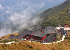 Een tempel op Fanjing-Berg stock foto's