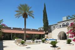 Een terras, palm en cipresbomen royalty-vrije stock afbeeldingen