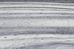 Een textuur van witte sneeuw met ijs en grijze schaduwen van bomen en takjes en naalden van pijnbomen op de oppervlakte in de win stock afbeelding