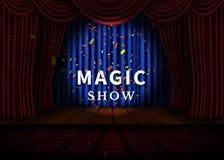 Een theaterstadium met een rood gordijn en een schijnwerper en houten vloer Magisch toon Affiche Vector stock illustratie