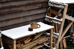 Een theepot en een kop thee in de eerste sneeuw stock foto's