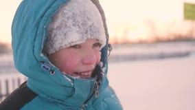 Een tiener in de winterpark het glimlachen gezichtsclose-up De tijd van zonsondergang Het lopen in openlucht Een gezonde levensst stock footage