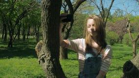 Een tiener zit op een boom met een telefoon Een meisje in gescheurde jeans maakt selfie Mooi meisje in het park stock video