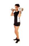 Het meisje van de tiener het opheffen gewicht. Stock Foto