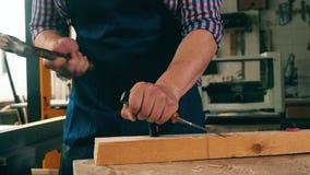 Een timmerman gebruikt een hamer en een beitel om hout te verwerken stock video