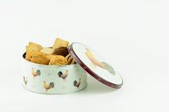 Een tin van koekjes of koekjes Royalty-vrije Stock Afbeeldingen