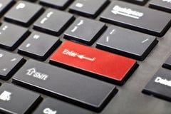 Een toetsenbord met rode knoop Stock Foto's