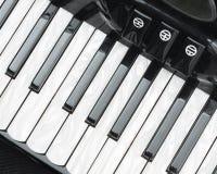 Een toetsenborddeel van zwarte harmonika in close-up royalty-vrije stock foto's