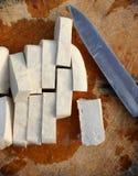 Een Tofu plak. Stock Afbeelding