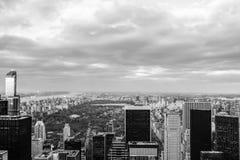 Een toneelmening van Central Park van Rockefeller-Centrum stock foto's